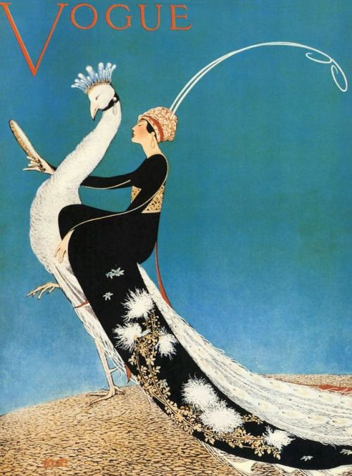 George Wolfe Plank, Peacock Parade, Paris Openings Number, Vogue Paris Cover, April 1918. Gloriously exotic and irrefutably chic, the long sleeve of a woman's black kimono rests atop the white silky feathers of her peacock's tail as both gaze into a...