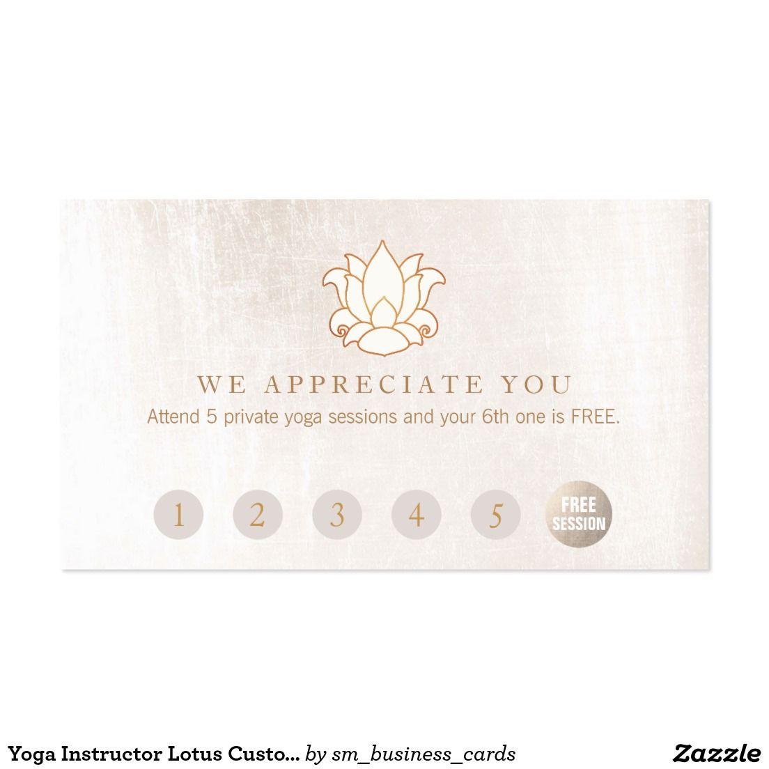 Yoga Instructor Lotus Customer Loyalty 6 Punch Business Card ...