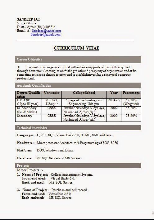 how to do resumes Sample Template Example of ExcellentCV / Resume