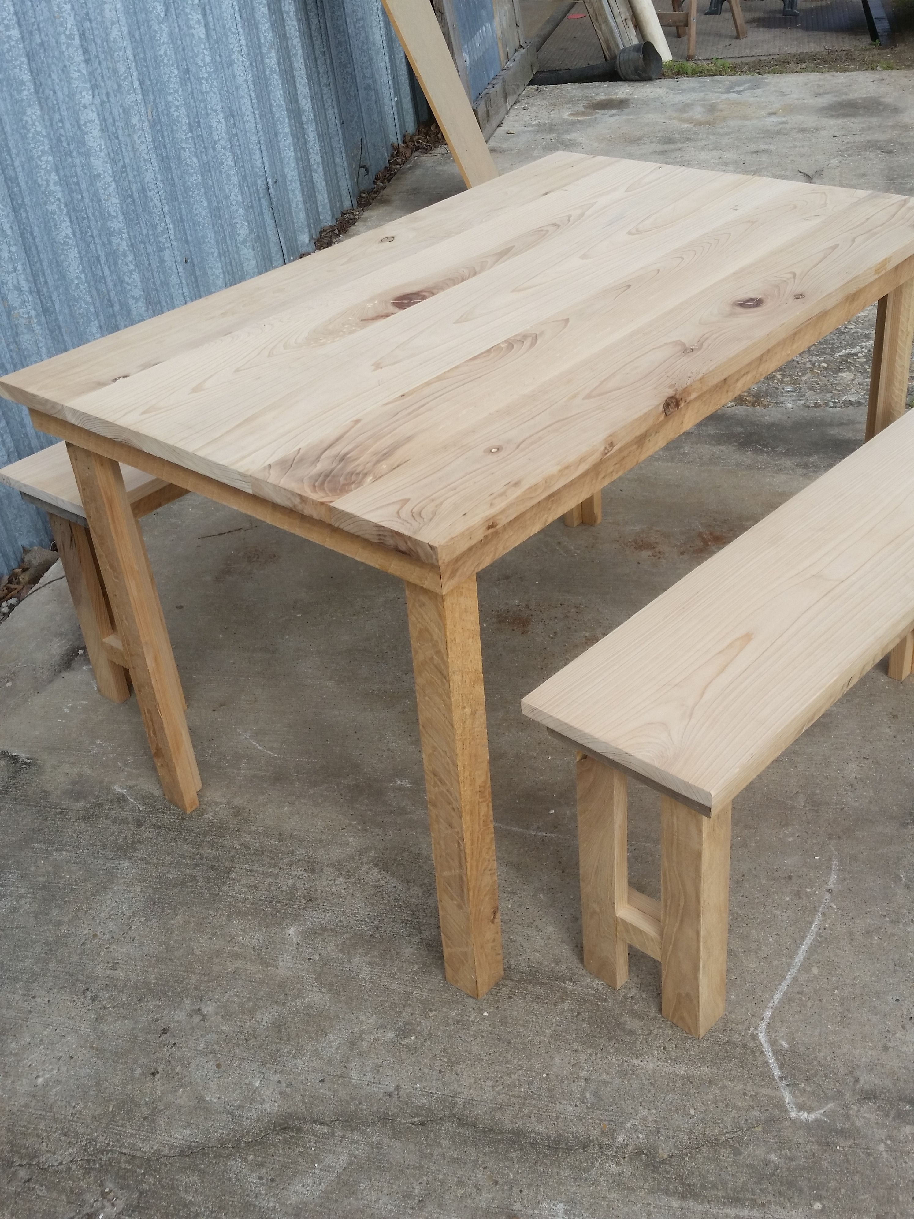 Cypress Farm Table With Benchs Cajun Salvage Company