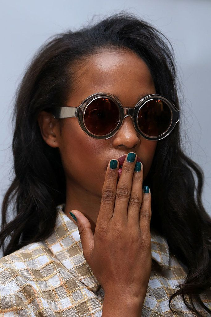 Models walked the runway in green nails painted by Jin Soon Choi and inspired by Karen Walker's garden-themed runway.