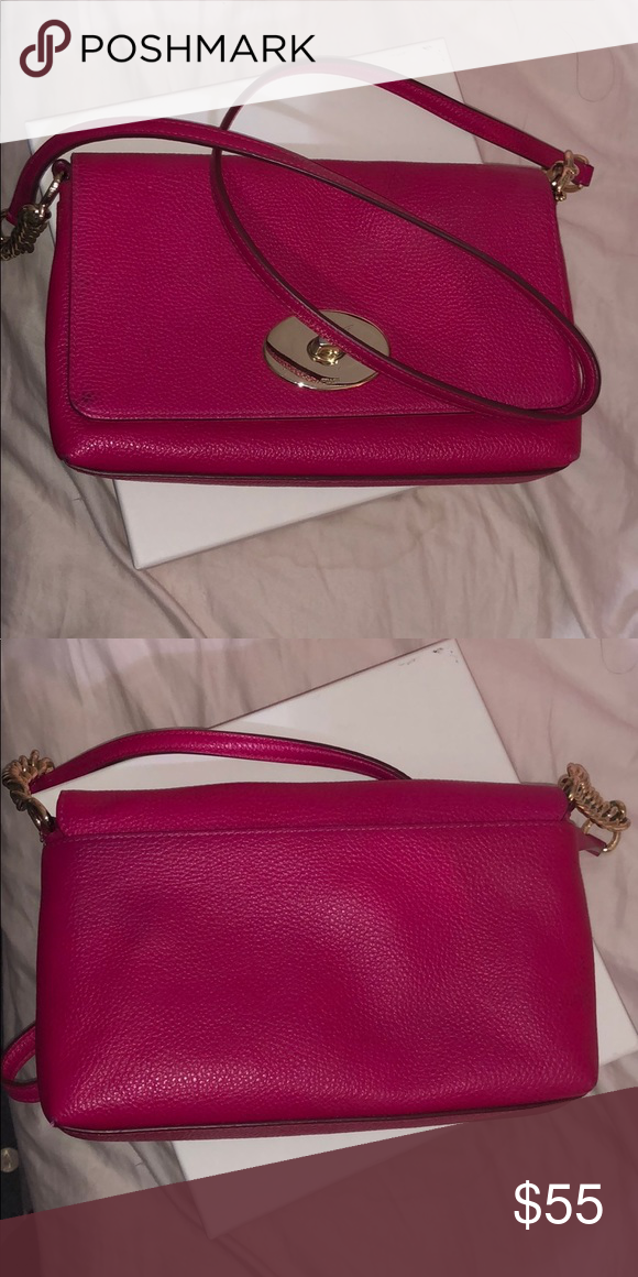 d31021dea1e648 Michael Kors crossbody Dark pink. The leather still good only a little  stain on the bottom . Bags Crossbody Bags