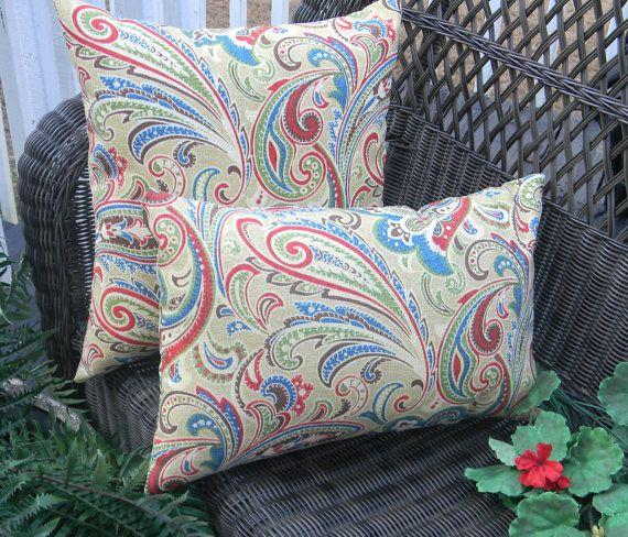 Set Of 2 Indoor Outdoor Decorative Throw Pillow Rectangle Lumbar Pillow Blue Red Green Throw Pillows Wicker Chair Cushions Decorative Throw Pillows