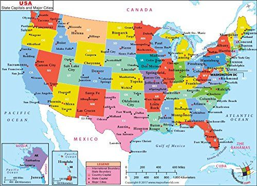 MOI AMZ on | Us map with cities, United states map, Capital ...
