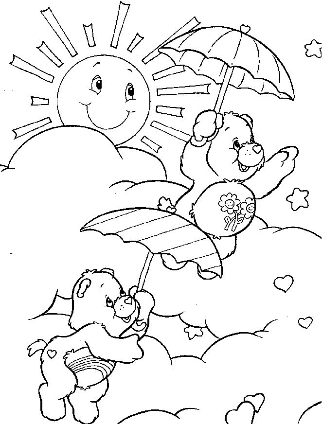 Care Bear Playing On A Sunny Day Coloring Pages Kids
