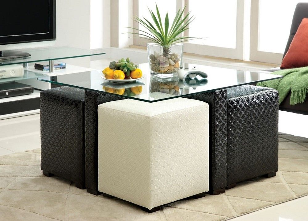 Ruti Black White Padded Leather Glass Top Coffee Table 4