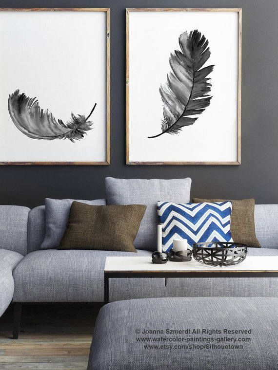 Feather Illustration Gray Feathers Set 2 Art Prints Black
