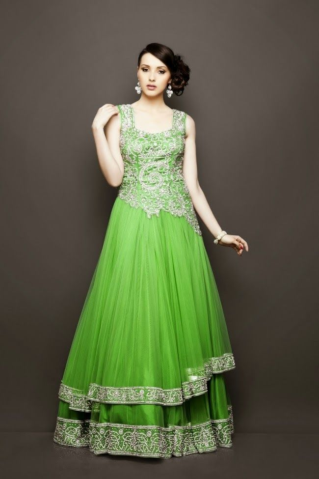 Latest Exclusive Green shades Girls Gown designs | Latest Exclusive ...