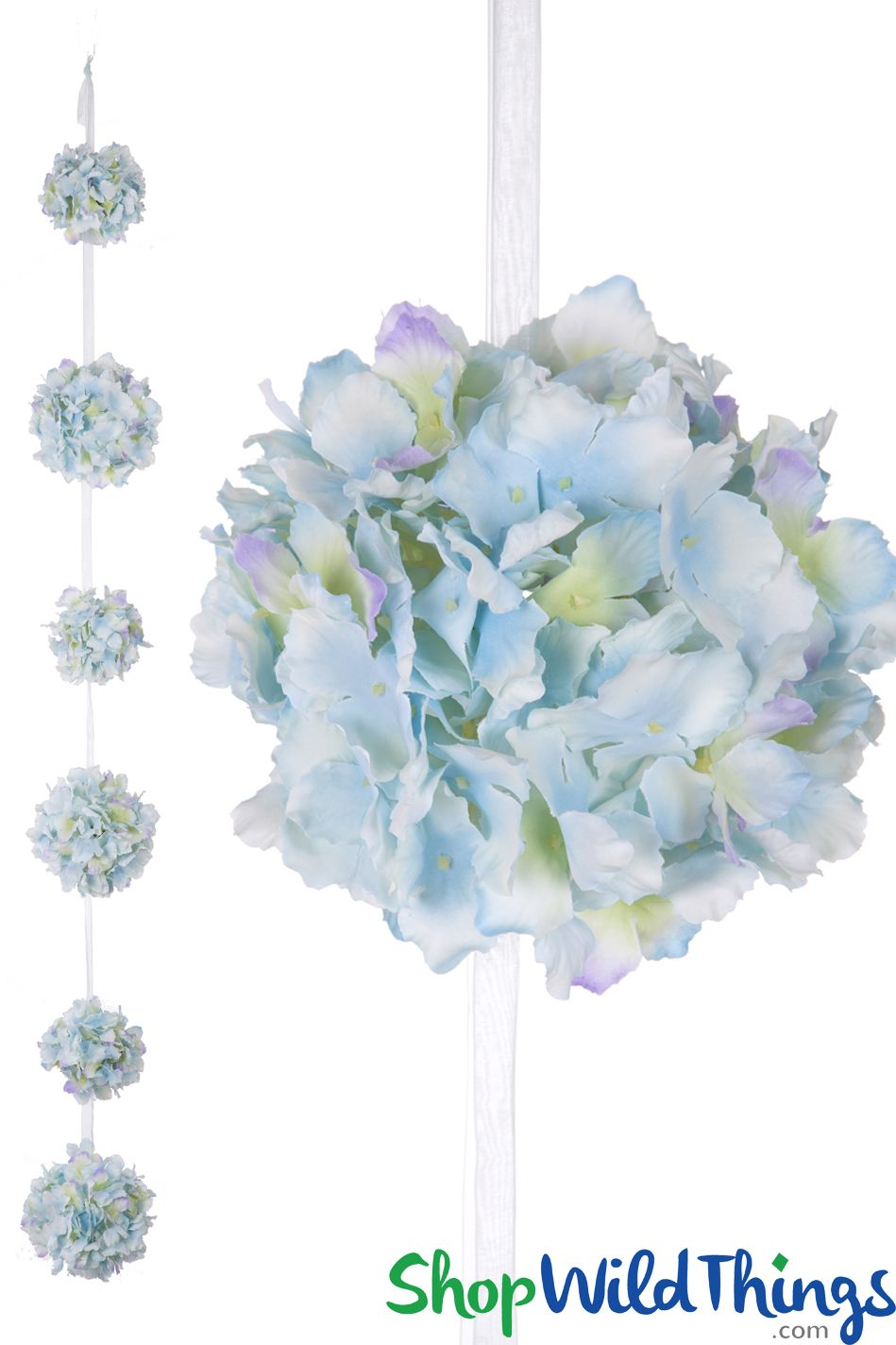 Flower Ball Garland Hanging Silk Hydrangea Kissing Balls On Ribbon 4 1 2 Blue Silk Hydrangeas Hanging Flowers Flower Ball