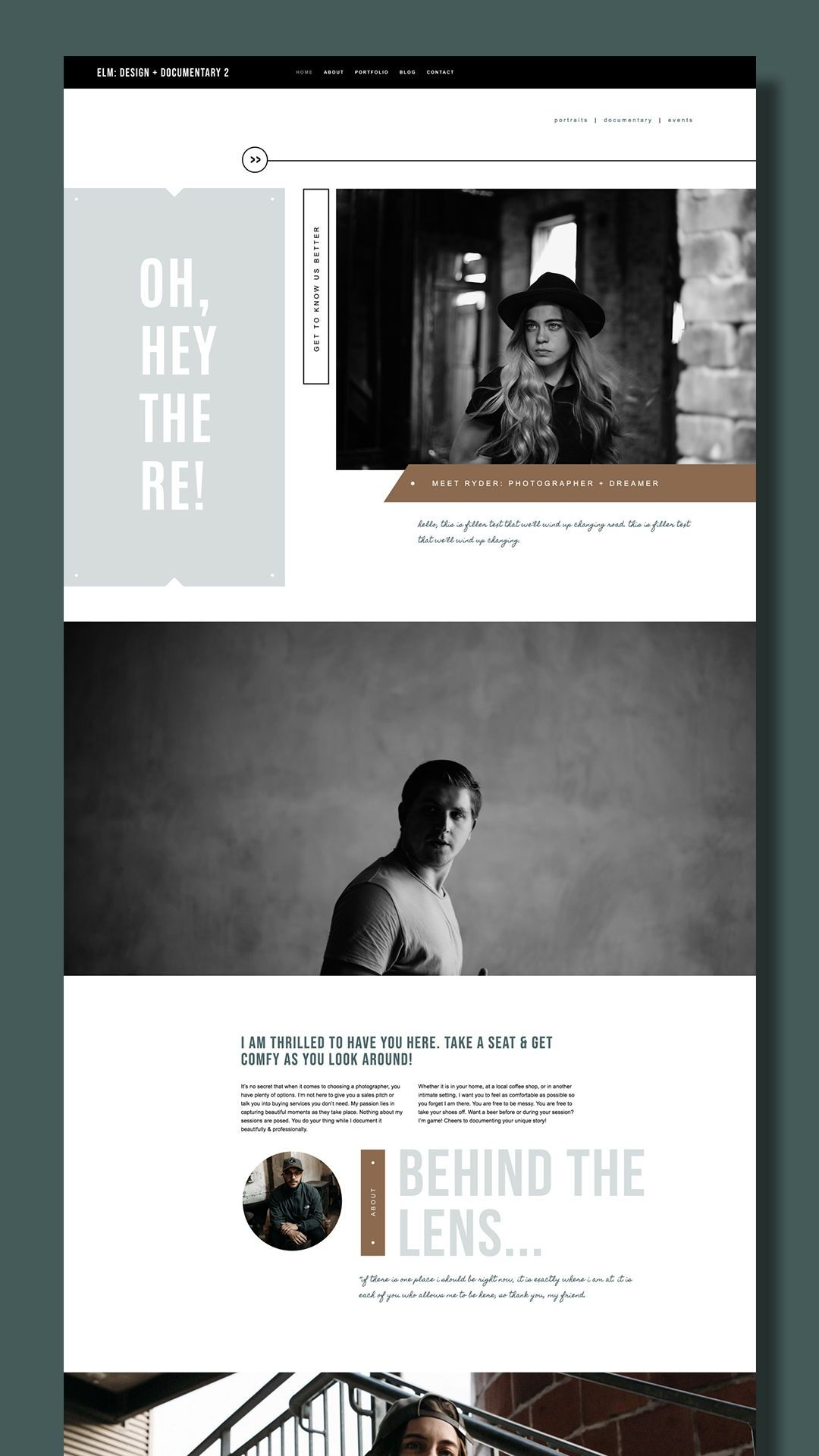 Portait Photographer Squarespace Website Template Elm