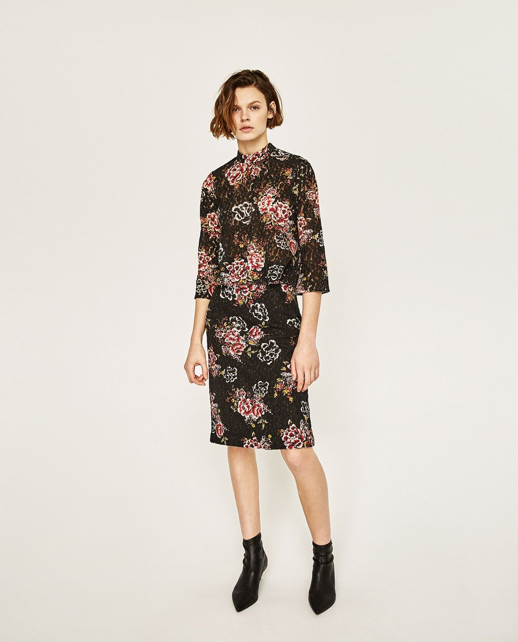 zara - woman - floral print guipure lace top | gehrock damen