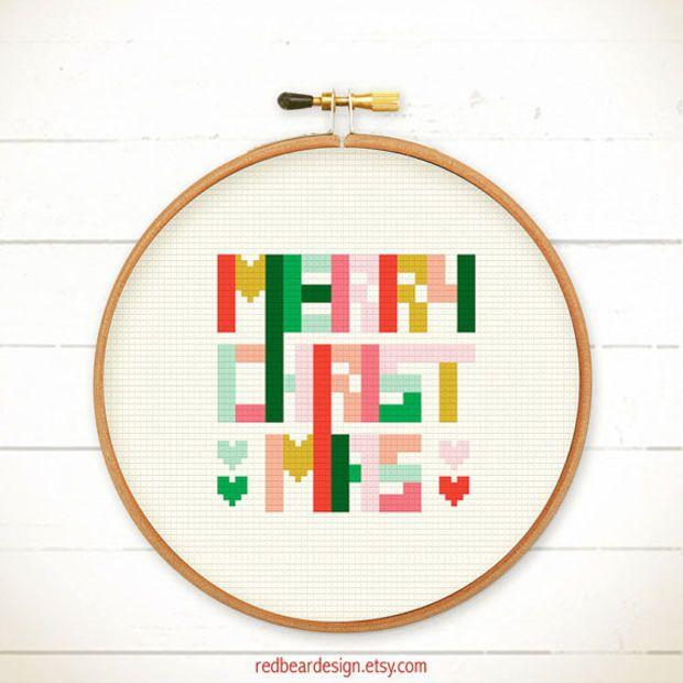 Christmas cross stitch pattern - Geometric Christmas - Xstitch Instant download - Pop Art Colourful Fun Modern Christmas Xmas