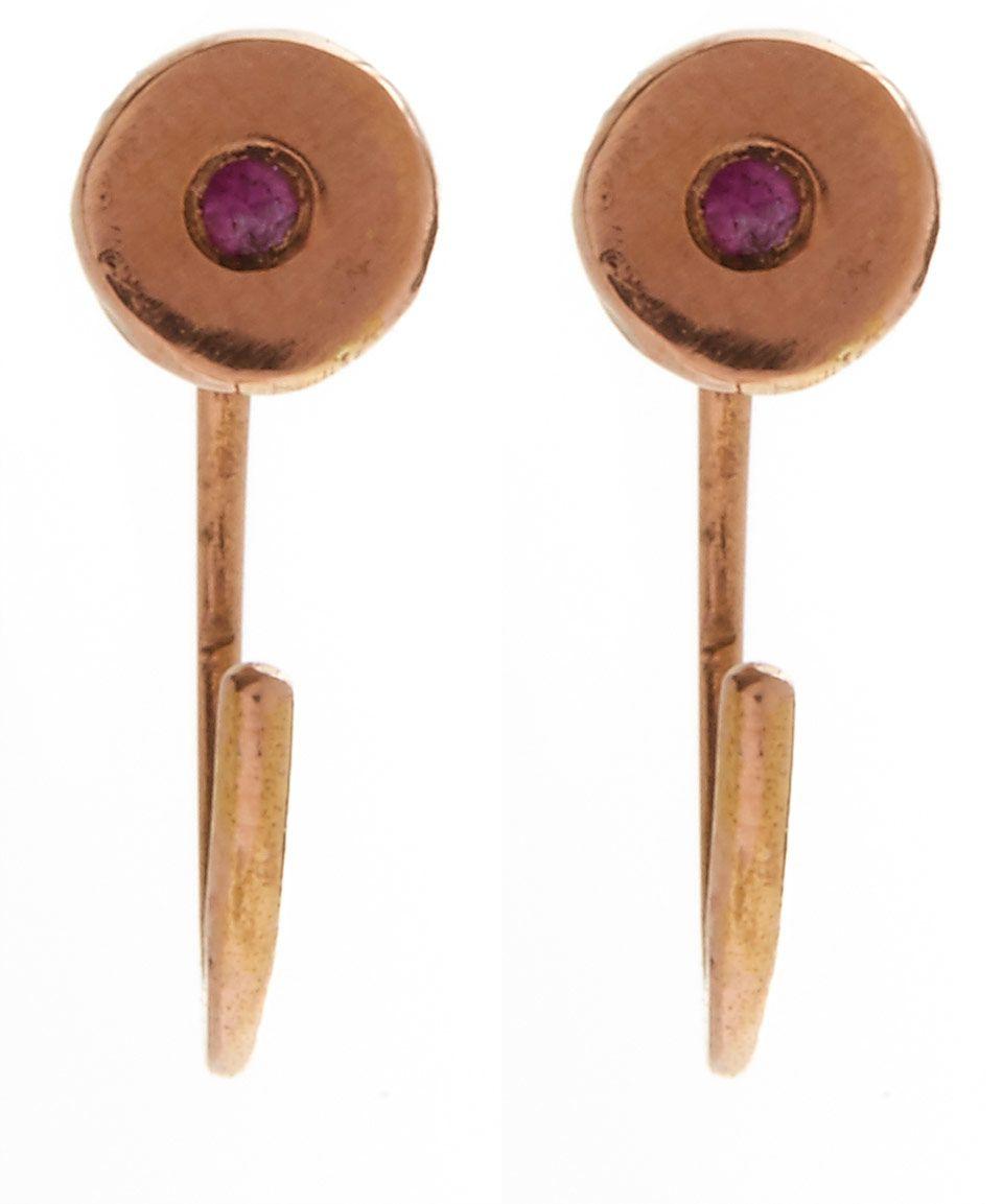 Melissa Joy Manning Rose Gold Ruby Hug Hoop Earrings | Accessories | Liberty.co.uk