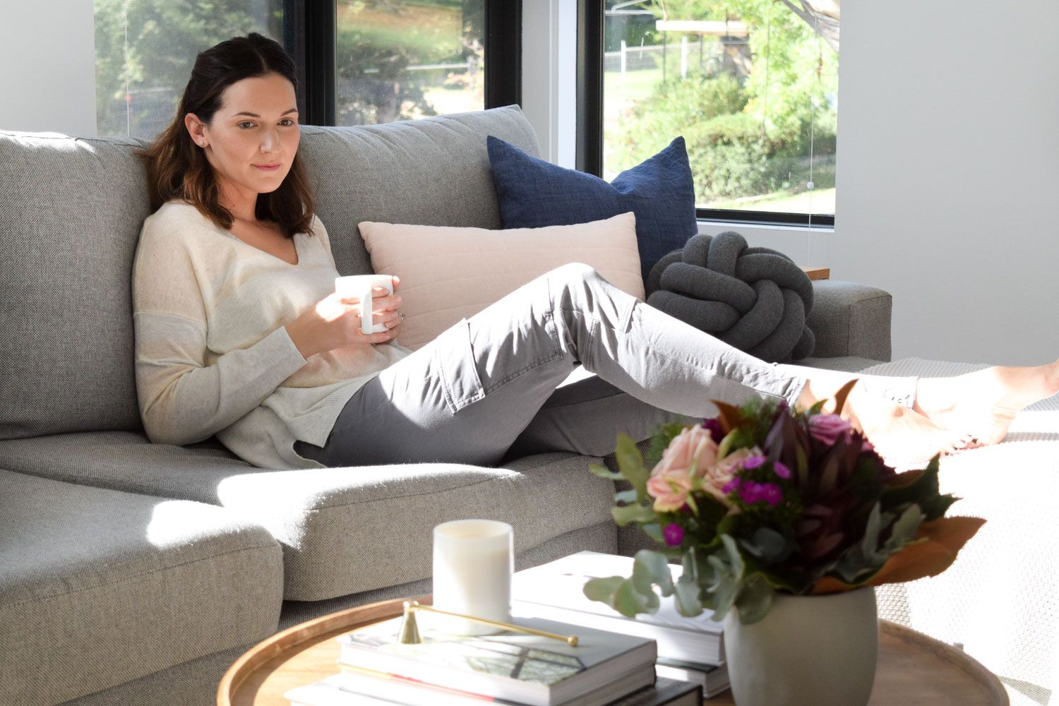 At home with Style Curator sharing her coffee table styling tips and tricks!