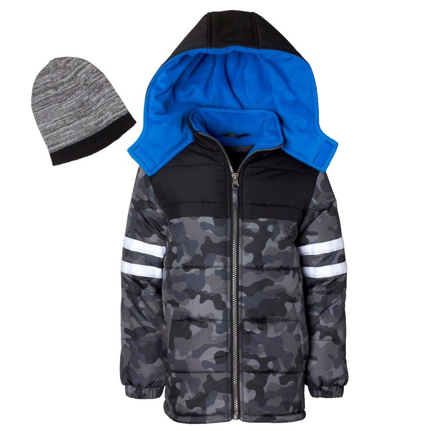 4abb109195a60 Boys 4-7 I-Extreme Camo Heavyweight Puffer Jacket with Hat ...