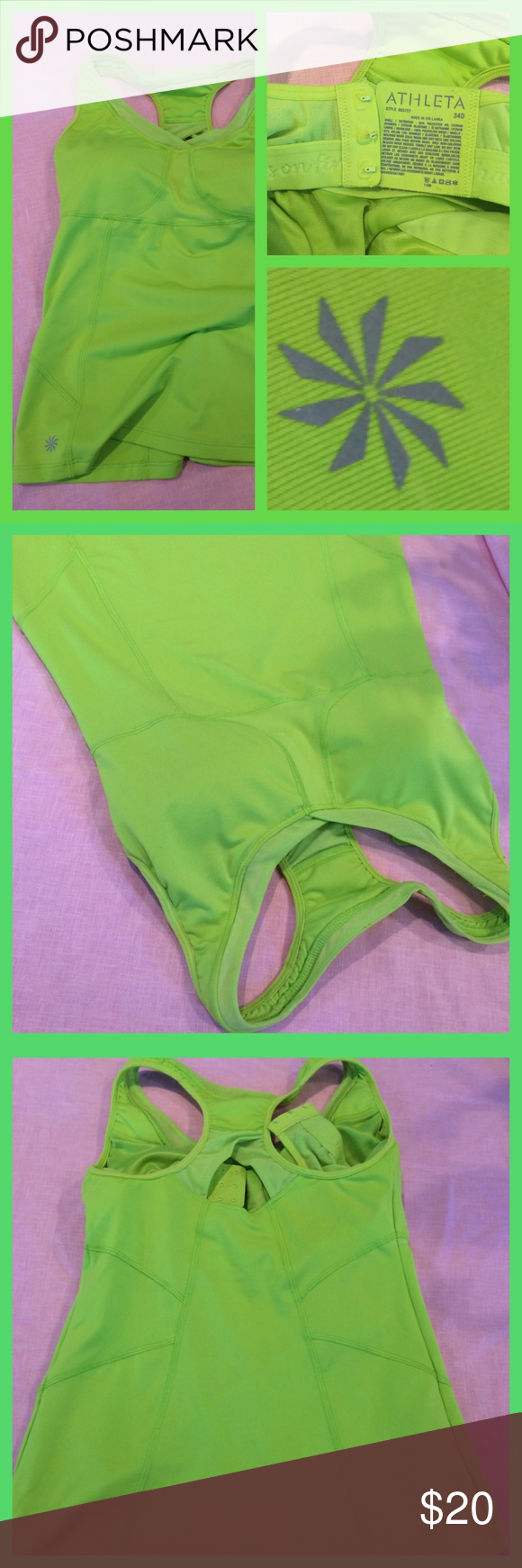 """Lime Athleta Bra Athletic Top 34D NEW Athleta Racerback athletic built in bra top size 34D. Tennis top. Lime. Length: 21"""". Good quality. No spots or stains. Thanks for looking! Athleta Tops Tank Tops"""