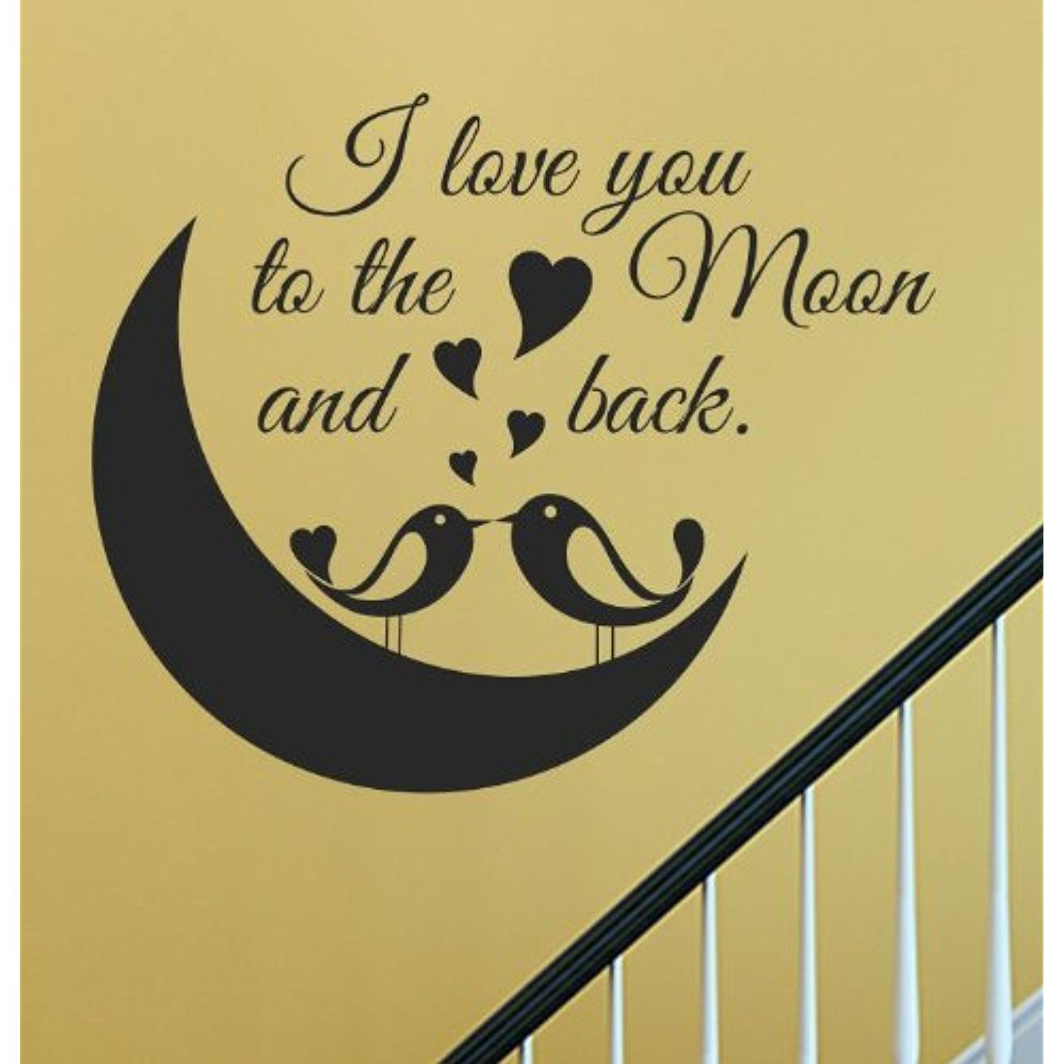I love you to the moon and back cute love birds Vinyl Wall Decals ...