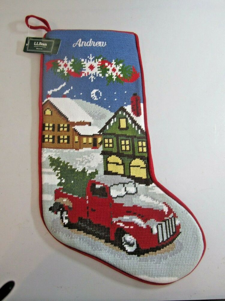 LL Bean Needlepoint Christmas Stocking Red Truck NWT