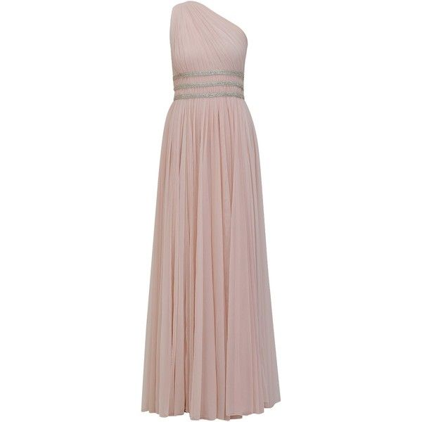 Vintage pink braided cutdana embellished one shoulder roman gown ...