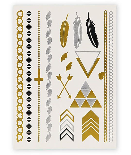 This pack of metallic foil tattoos includes multiple designs like feathers and arrows so you can add some glistening texture to any outfit.