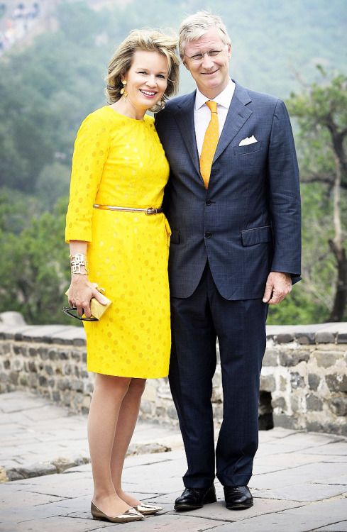 Queen Mathilde and King Philippe at the great. Wall in China.