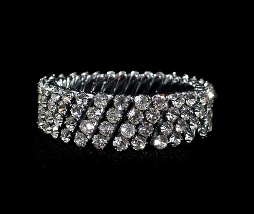 819e2410c548b Vintage RHINESTONE STRETCH BRACELET 1950's 1960's Japan Wide 4 ROWS ...