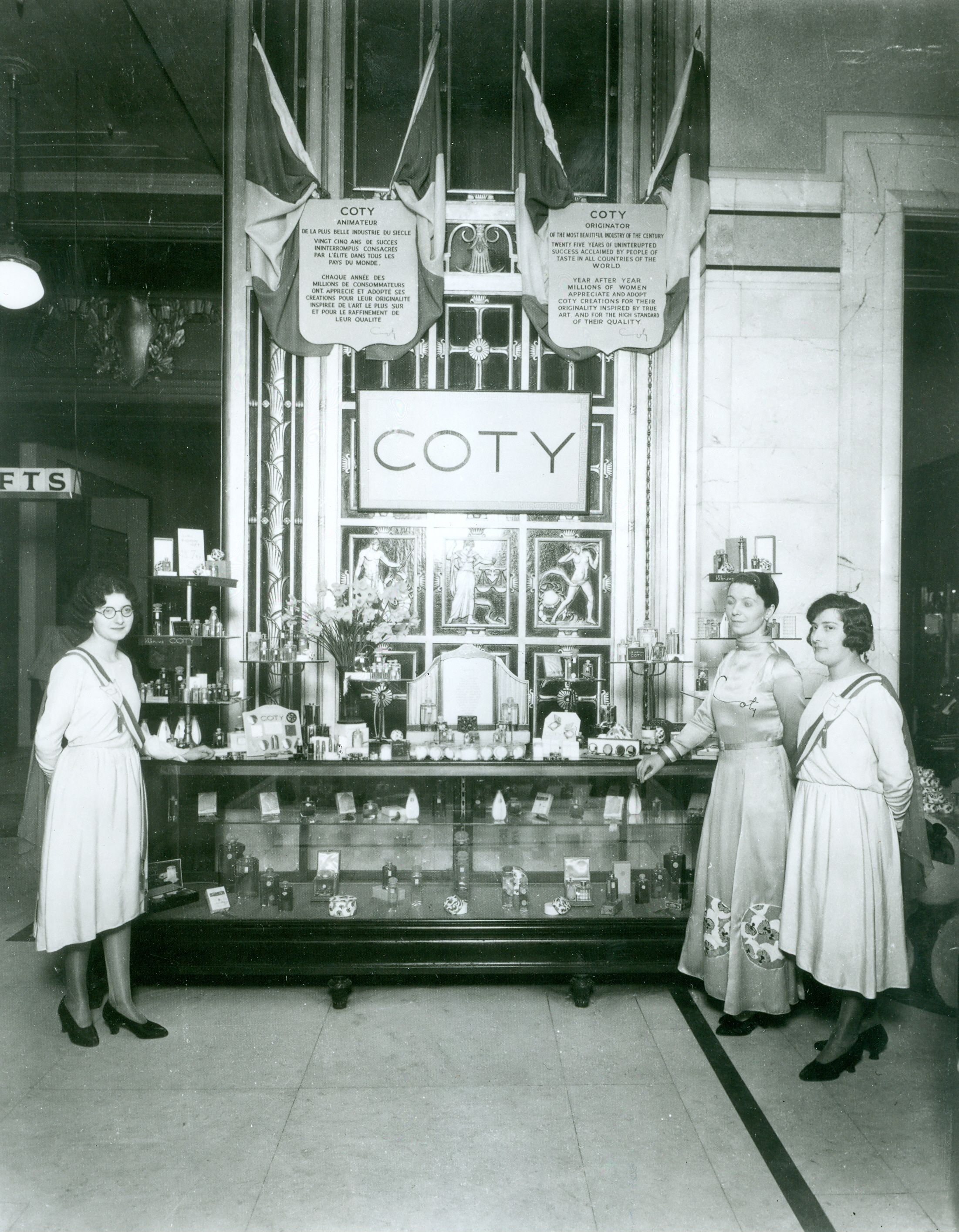 The COTY cosmetics counter in the beauty hall at