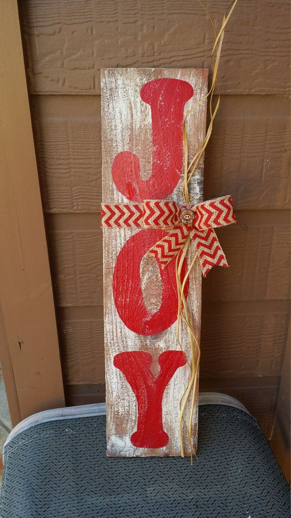 Rustic Wooden Joy Sign It Is Brushed With White Paint And The Word