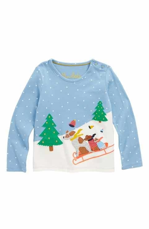 a13a623c4f6f Mini Boden Sleigh Away Appliqué T-Shirt (Toddler Girls