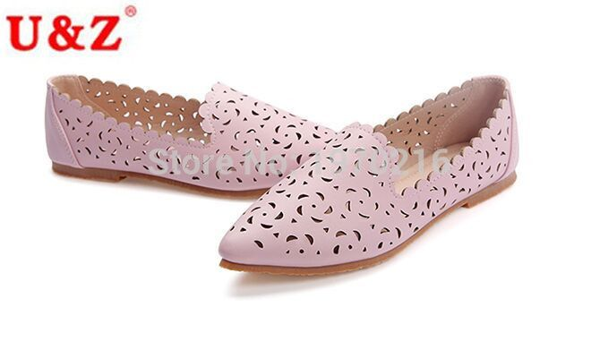 2017 fashion Calf leather Laser perforation hole casual Shoes Eu43,Big size US10.5 flower pattern hollow out flats Women loafers