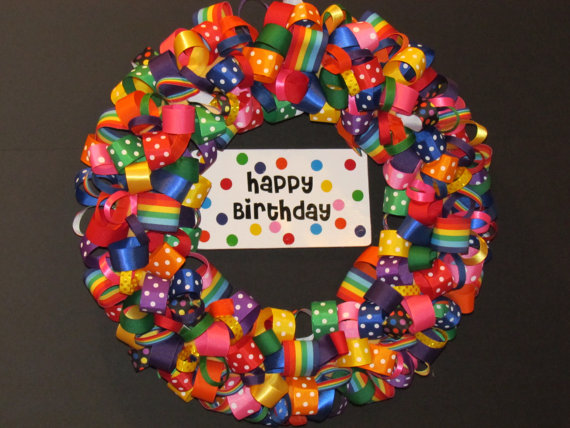 Photo of Rainbow ribbon wreath, happy birthday wreath, wreath for special occasions