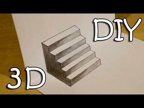 Diy 3d stairs how to draw easy 3d stairs optical illusion youtube