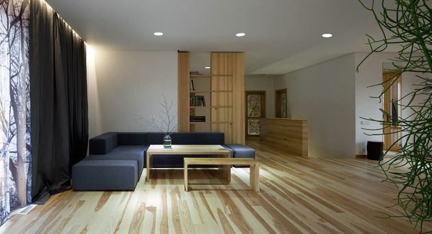 Pale Wood and Bright Color Combination Showcased by Ryntovt Design - wohnzimmer design steinwand
