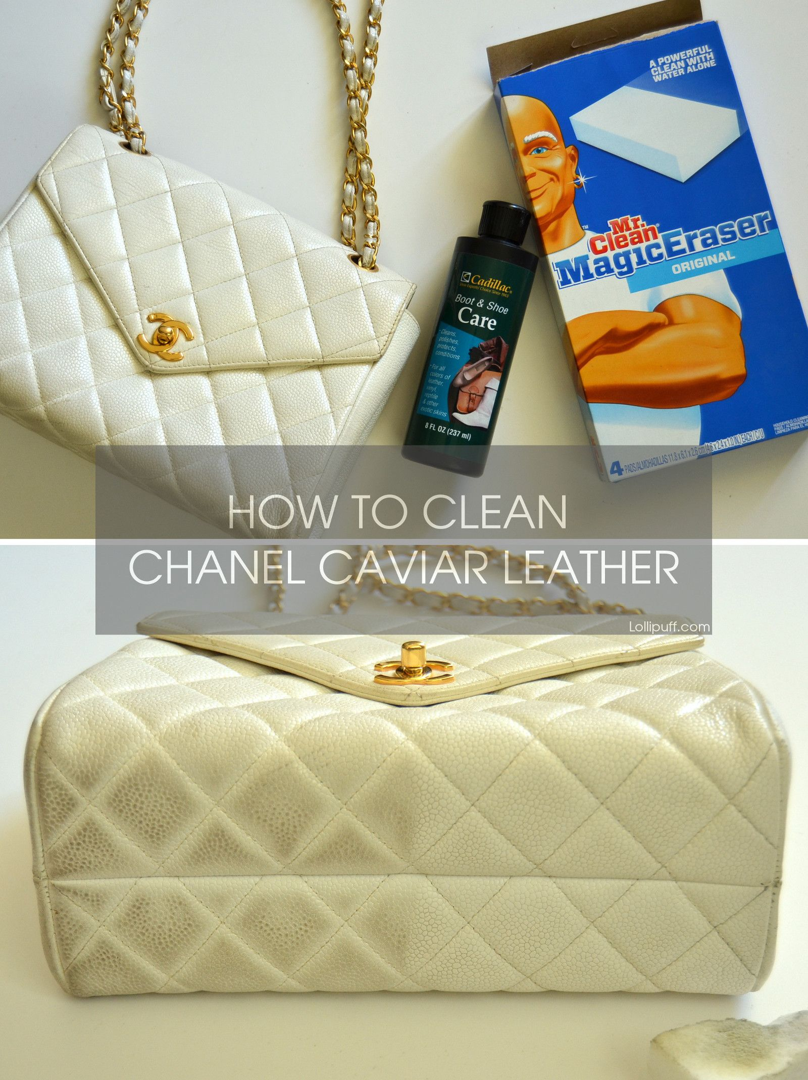Chanel S Celebrated Caviar Leather Is Extremely Durable Making Handbags In This Leather Very Desirable However Lig Clean Leather Purse Leather Purses Leather