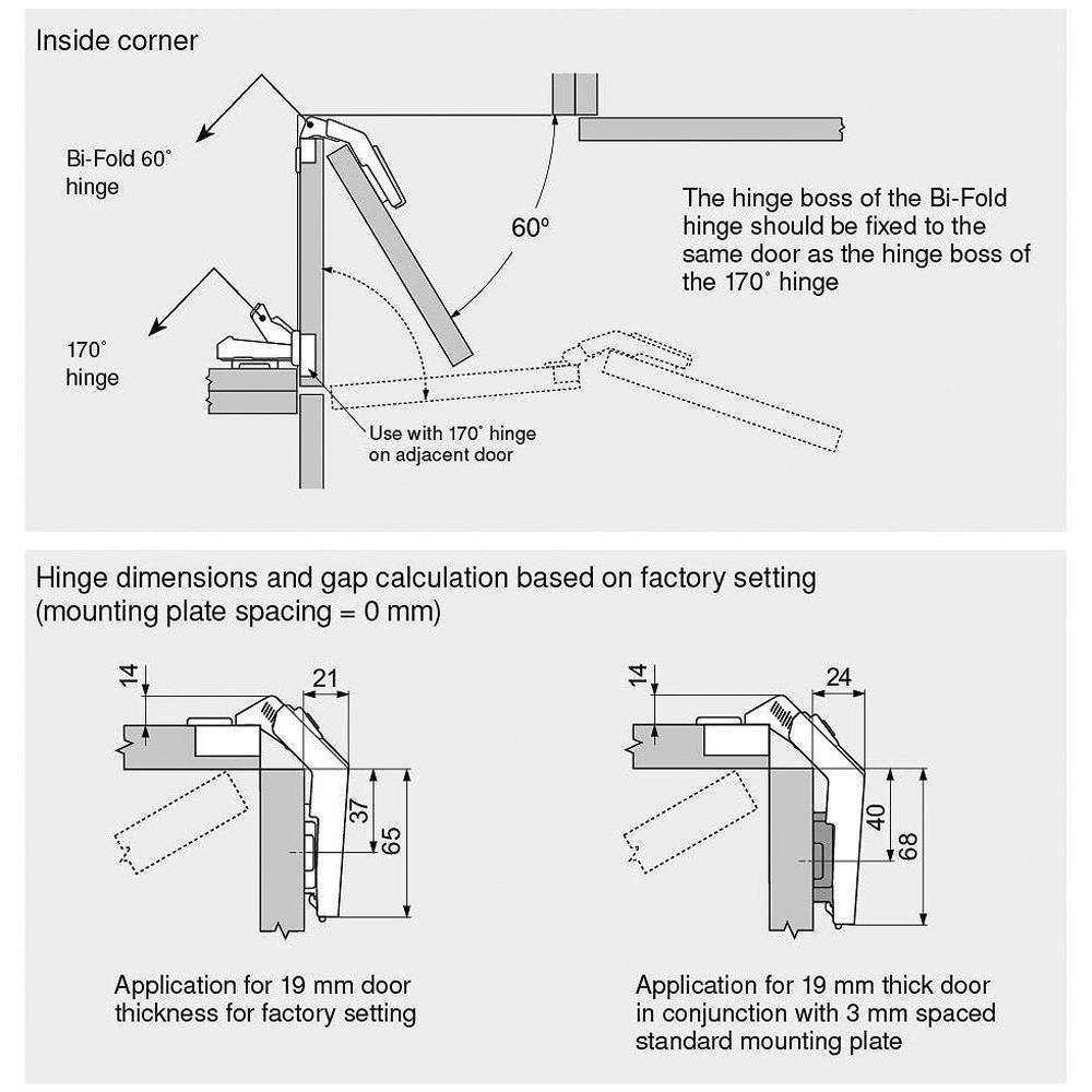 Blum Blum Bi Fold Frameless Cabinet Hinge 2 Pack Bp79m85021180 Hinges For Cabinets Frameless Cabinets Hinges