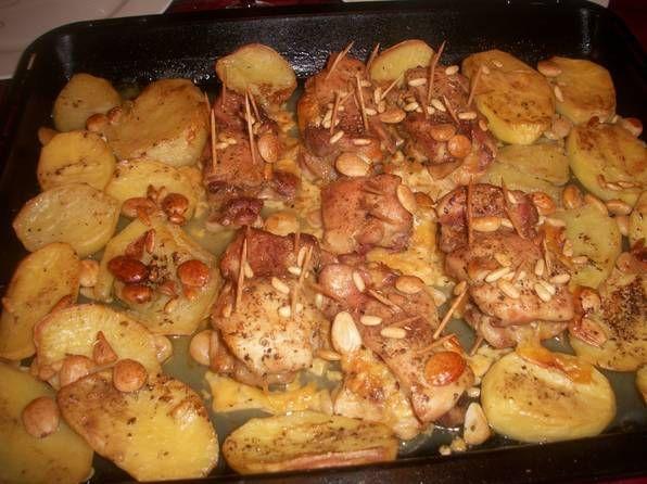 Contramuslos de pollo con vino al horno
