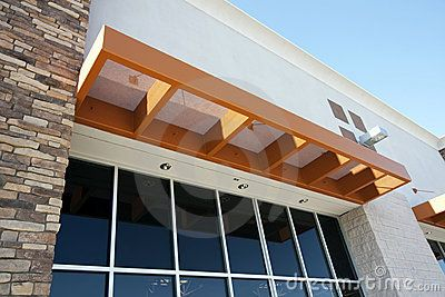 Attrayant Awning For Front Door | Modern Metal Awning Over Storefront Stock  Photography   Image: 9584682