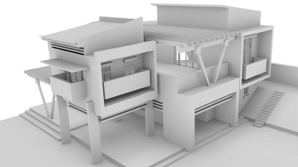 Hasil belajar blender desain rumah minimasil