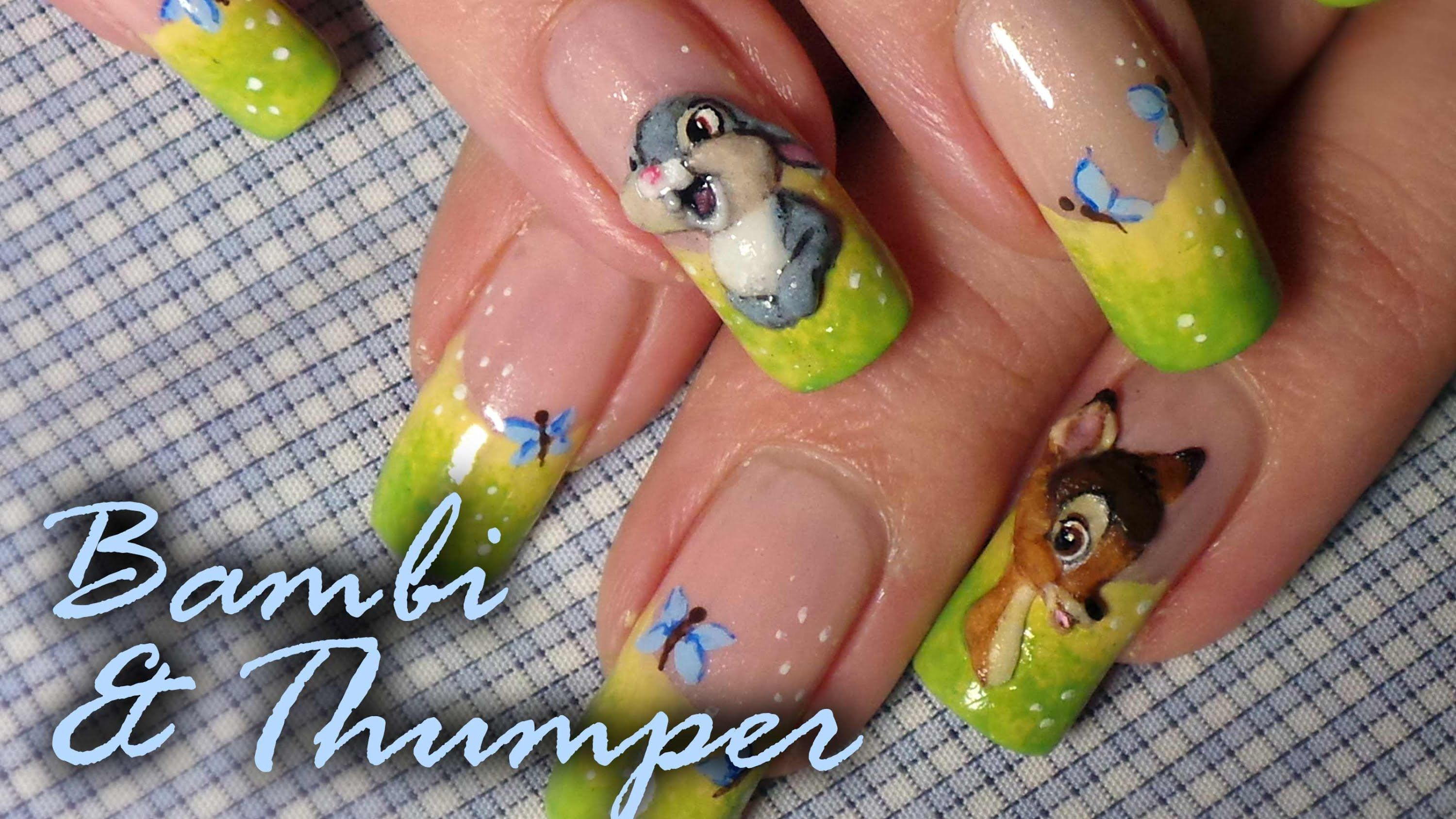 Disney Inspired Bambi Nail Art Tutorial Acrylic 3d Nail