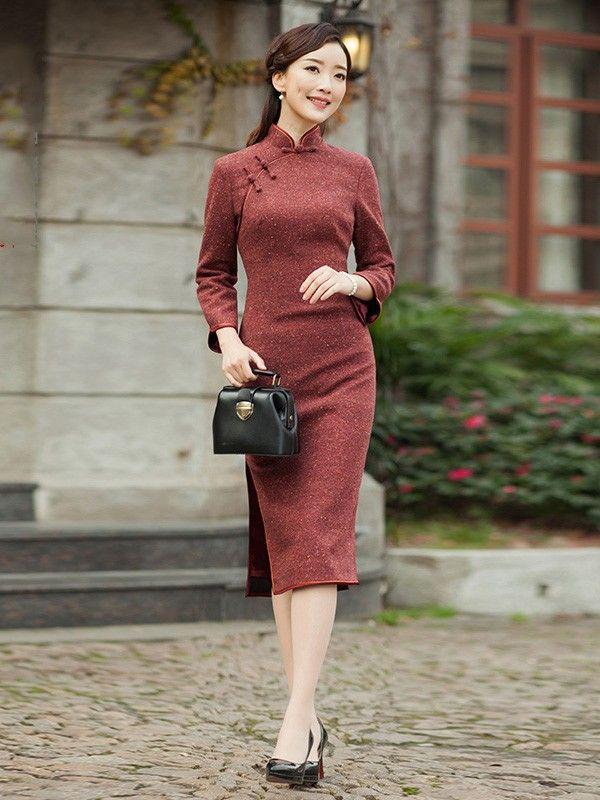 Belle Red Wool-Blend Qipao / Cheongsam Dress