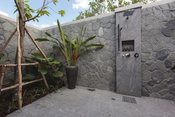 A very stylish outdoor shower