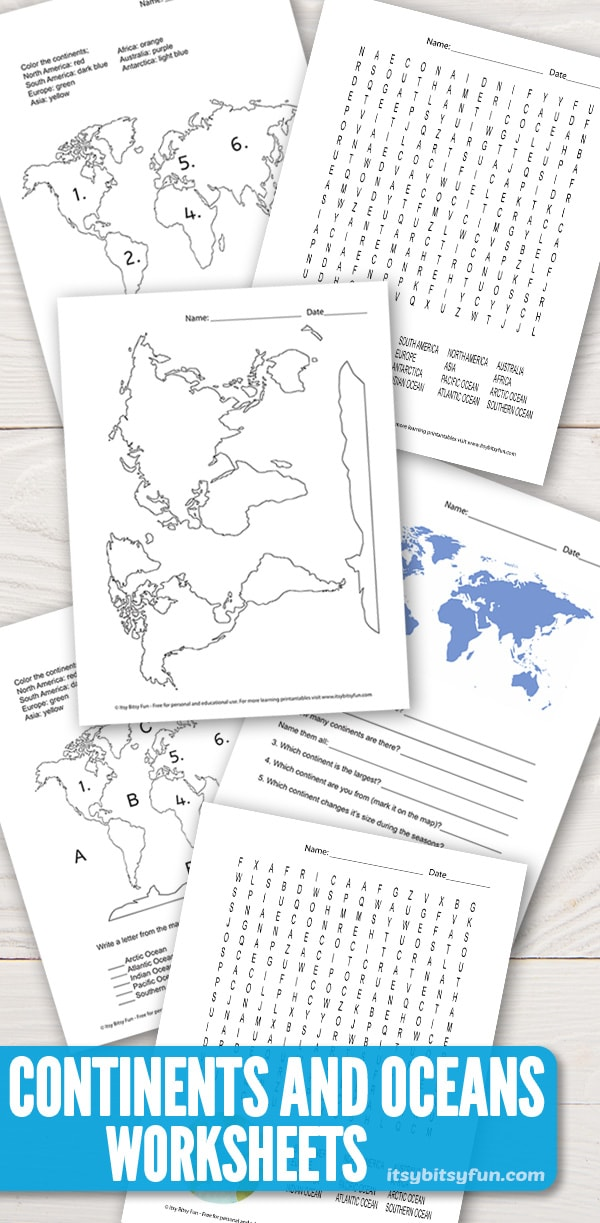 Photo of Continents and Oceans Worksheets – Free Word Search, Quiz and More – itsybitsyfun.com