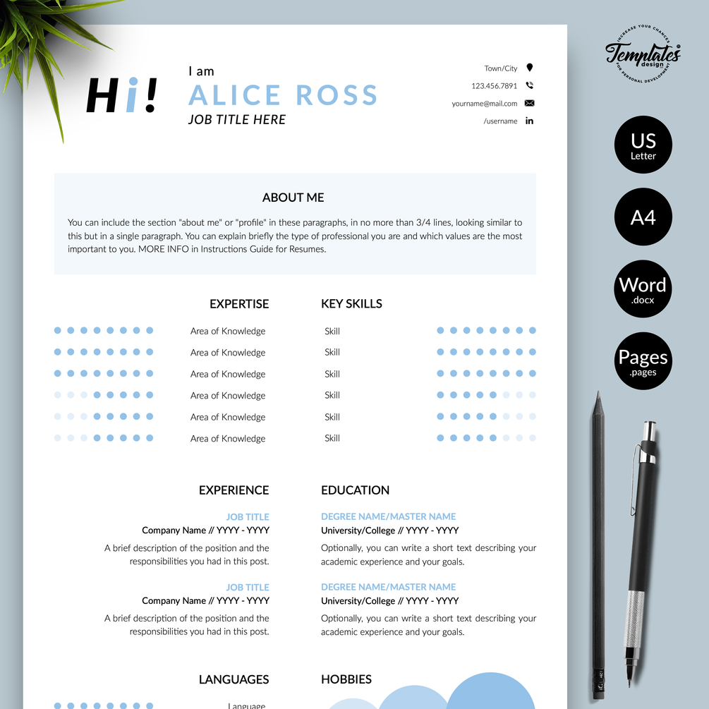 Alice Ross Creative Resume Cv Template For Word Pages Us Letter A4 Files 1 2 3 Page Resume Version Cover Letter References Cover Letter With Resume Template Resume Resume Design Template
