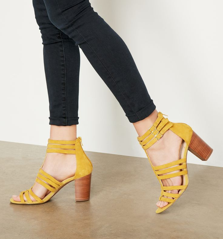 Mustard suede gladiator sandals with comfortable stacked heels ...
