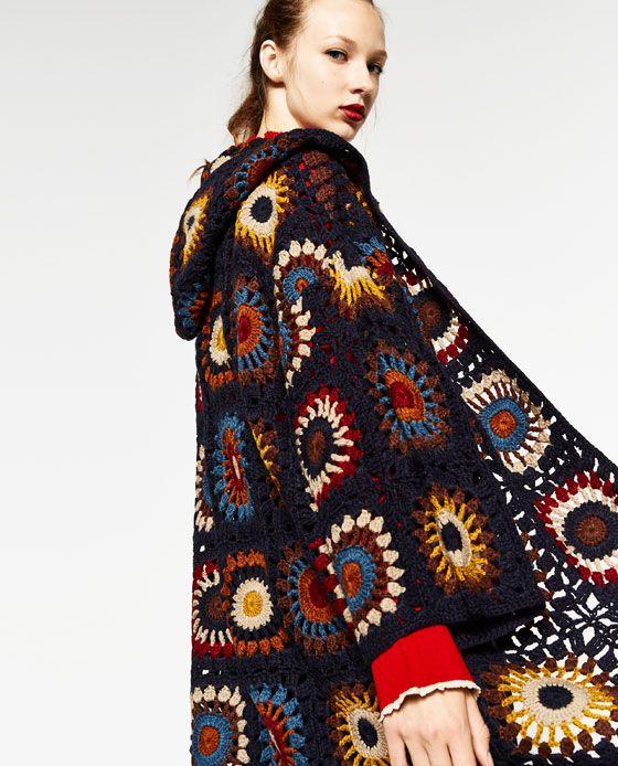 Imagem 2 De Sobretudo Croche Com Capuz Edicao Limitada Da Zara Crochet Coat Crochet Clothes Crochet Cardigan