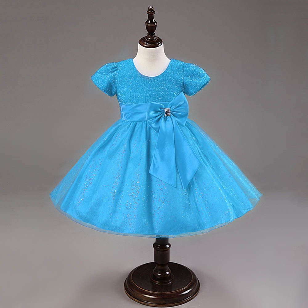 Kid girl princess bow dress girls wedding party pageant tulle dress