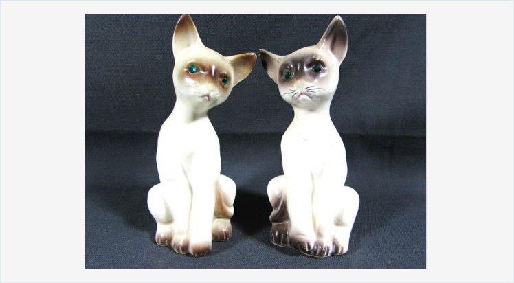 Siamese Cats Salt And Pepper Shakers Porcelain Green Rhinestone