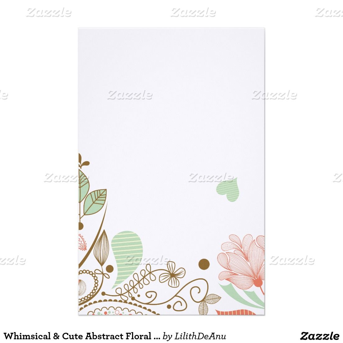 Whimsical & Cute Abstract Floral Stationary Stationery
