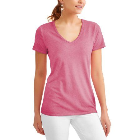 b82355ea2fd Time and Tru Women s Essential Short Sleeve V-neck T-Shirt