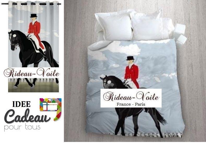 Tissu décoration ameublement imprimé motif cheval thème équitation
